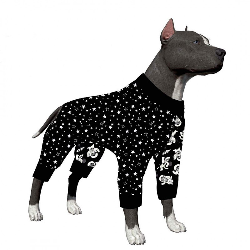 LovinPet Big Dog Pajamas, Extra Cozy Outer Space Dog Pajamas, Slim fit, Lightweight Pullover Pajamas/Full Coverage Dog pjs/Please Reese Size Chart Before Ordering