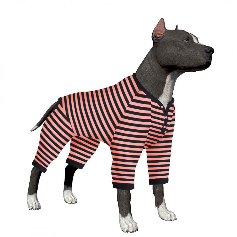 LovinPet Big Dog Pajamas with Clothes Button/Pink Black Stripe Dogs Shirt/4-Legs Design/Full Body Coverage Protection/for Big Dogs/Pitbull Shirt Dog Pajamas for Large Dogs