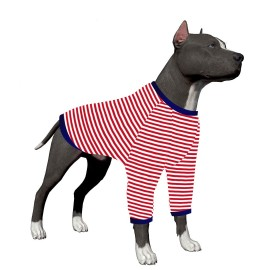LovinPet Large Dog Onesie/Red Dog Stripe Shirt/2-Legs Design/Full Belly Coverage/for Big Dogs/Pitbull Shirt