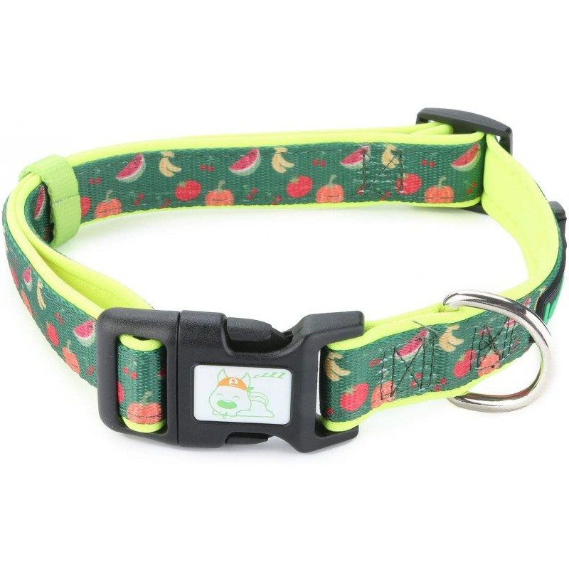 LovinPet 8 Patterns Soft & Comfy Colorful Fruit and Naughty Puppy Prints Padded Dog Collar, Matching Leash Harness Available Separately