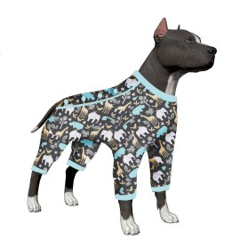 LovinPet Big Dog Pajamas, Super Cozy Life's a Zoo Dog Pajamas, Slim fit, Lightweight Pullover Pajamas/Full Coverage Dog pjs/Please Reese Size Chart Before Ordering