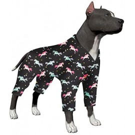 LovinPet Dog Clothes for Large Dogs - Pajamas, Post-Surgical Recovery for Big Dogs, Lightweight Pullover Dog Pajamas, Full Coverage Dog pjs, Wild Horses Galloping Print