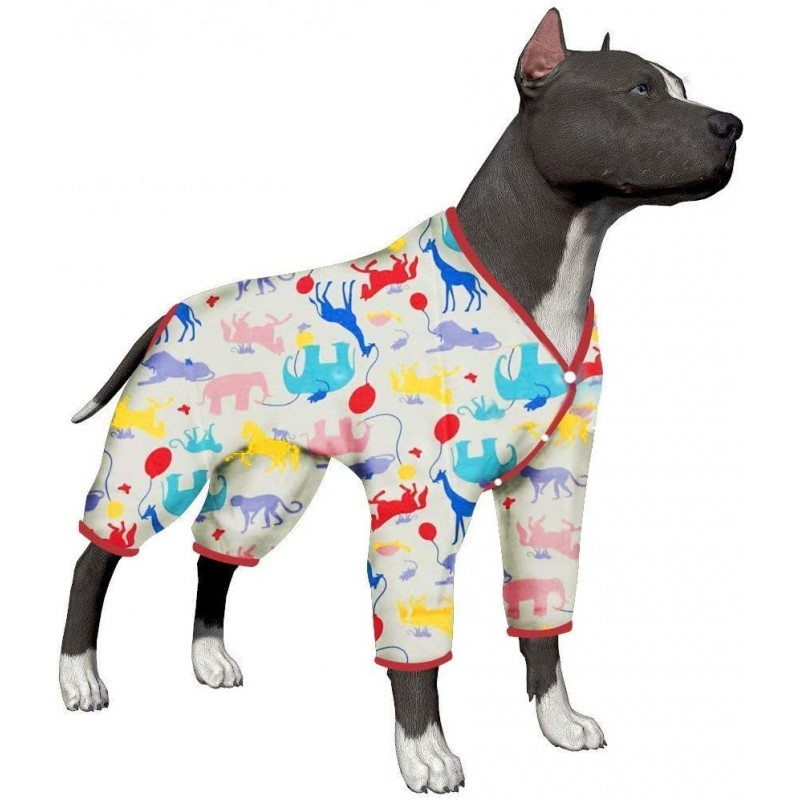 LovinPet Large Dog Clothes Post Surgery Wear, Dog Pajamas, Pitbull 100% Pure Cotton Large Dog Shirt for Labrador Doberman Boxer Short Hairs breed Dog Lightweight Pullover Pajamas/Full Coverage Dog pjs