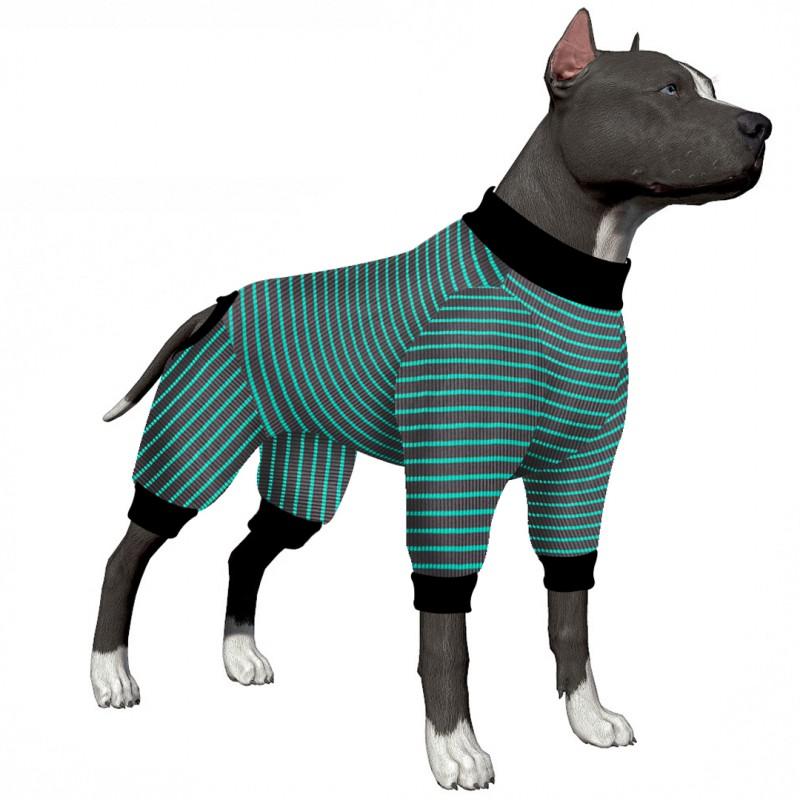 LovinPet Large Dog Pajamas/Cotton Big Dogs PJS/Pink Red and Green Stripes Dog Shirt/4-Legs Design/Full Body Coverage Protection/for Big Dogs/Pitbull Shirt/Bulldog Pajamas/Boxer Pajamas