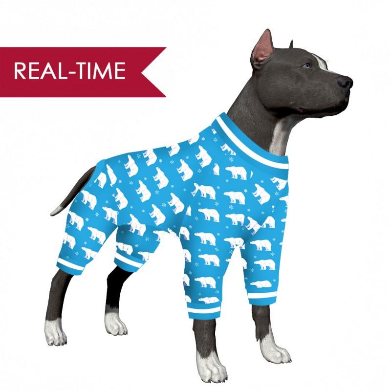 LovinPet Large Dog Clothes Pitbulls/Polar Bear in a Snowflake Blue Print for Large Dog Jamammies/Boxer Dog Pajamas, Lightweight Pullover Dog Pajamas, Full Coverage Dog pjs