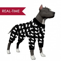 LovinPet Large Dog Pajamas/Polar Bear in a Snowflake Black Print for Large Dog Jamammies/Boxer Dog Pajamas, Lightweight Pullover Dog Pajamas, Full Coverage Dog pjs