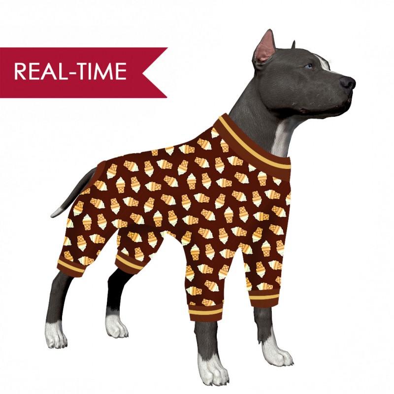 LovinPet Large Dog Clothe/Ice Cream Cones Brown Print for Large Dog  Jamammies/Boxer Dog Pajamas, Lightweight Pullover Dog Pajamas, Full Coverage Dog pjs
