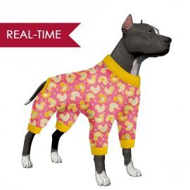 LovinPet Dog Jammies Large/Lucky Duck Pink Print for Large Dog Jamammies/Boxer Dog Pajamas, Lightweight Pullover Dog Pajamas, Full Coverage Dog pjs