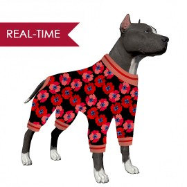 Lovinpet Pitbull Clothes for Large Dogs/ Poppy Floral Print Black Red Print for Large Dog Jamammies/Boxer Dog Pajamas, Lightweight Pullover Dog Pajamas, Full Coverage Dog pjs