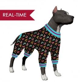 LovinPet Large Dog Jumpsuit/Butterflies Black Print for Large Dog  Jamammies/Boxer Dog Pajamas, Lightweight Pullover Dog Pajamas, Full Coverage Dog pjs
