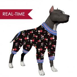 LovinPet Big Dog Pajamas/Floral Black,Pink Print for Large Dog  Jamammies/Boxer Dog Pajamas, Lightweight Pullover Dog Pajamas, Full Coverage Dog pjs