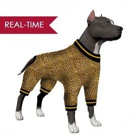 LovinPet Large Dog Pj/ Leopard Animal Print Black Print for Large Dog  Jamammies/Boxer Dog Pajamas, Lightweight Pullover Dog Pajamas, Full Coverage Dog pjs
