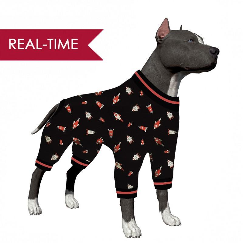 LovinPet Dog Clothes for Large Dog Girl/Galaxy Rockets Black Print for Large Dog  Jamammies/Boxer Dog Pajamas, Lightweight Pullover Dog Pajamas, Full Coverage Dog pjs