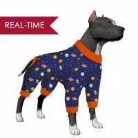 LovinPet Dog Clothes for Big Dog Girl/Galaxy Navy Print for Large Dog  Jamammies/Boxer Dog Pajamas, Lightweight Pullover Dog Pajamas, Full Coverage Dog pjs