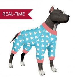 LovinPet Big Dog Clothes Pitbulls/Cute Seal in The Snow Print for Large Dog Jamammies/Boxer Dog Pajamas, Lightweight Pullover Dog Pajamas, Full Coverage Dog pjs