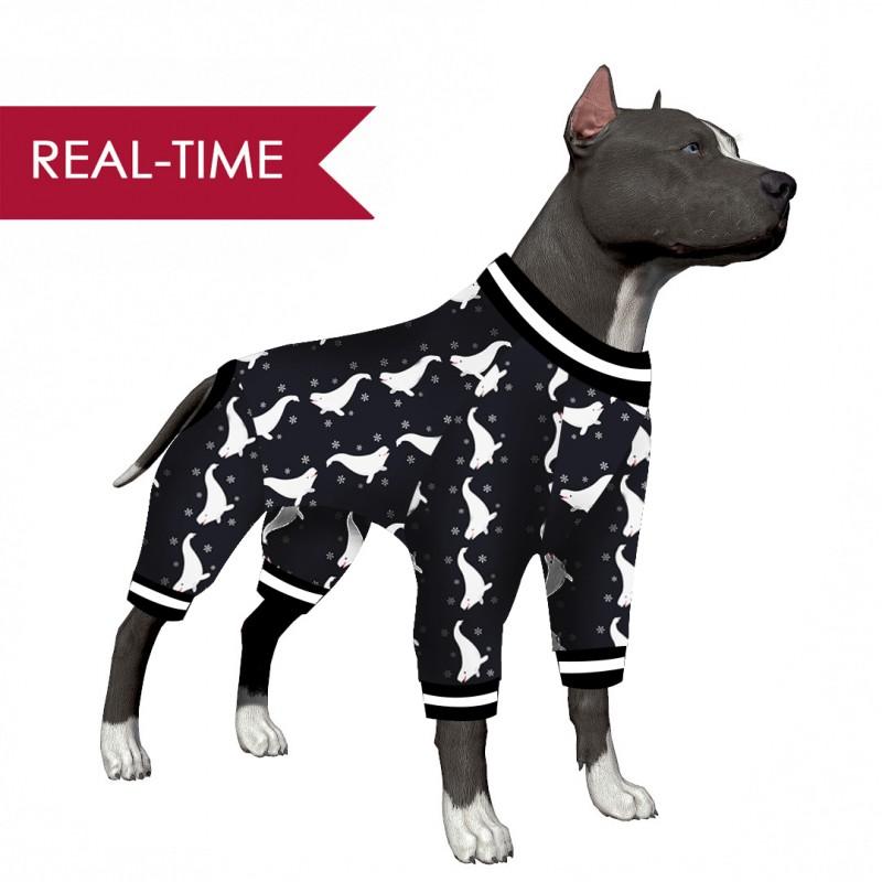 LovinPet Big Dog Pajamas/Cute Beluga Whale In The Snow Print for Large Dog Jamammies/Boxer Dog Pajamas, Lightweight Pullover Dog Pajamas, Full Coverage Dog pjs