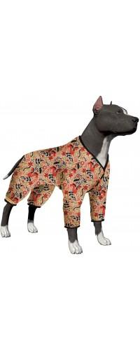 LovinPet Pitbull Pajamas/Lightweight Pullover Pajamas/Full Coverage Dog Pjs/Dog Onesie Jumpsuit/Happy Folk Horse Coral Prints/Lightweight Pullover Large Puppy Pajamas/Full Coverage Dog Pjs