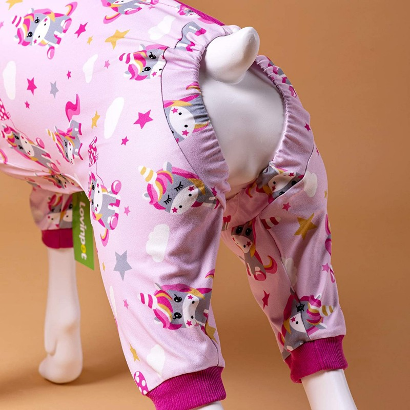 LovinPet Large Dog Pajamas Pitbull/Unicorn Stretch Jersey Knit Lisou Rose Pink Prints/Post Surgery Shirt/UV Protection, Pet Anxiety Relief, Wound Care for Large Dog Onesies
