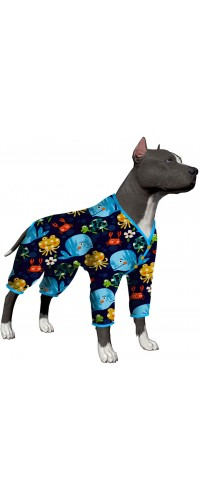 LovinPet Pajamas for Large Dogs/Printed Stretch Jersey Knit Marine Family Prints/Lightweight Pullover Pet Pajamas/Full Coverage Dog Pjs Large Dog Onesie Jumpsuit