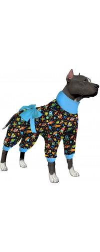 LovinPet Large Dog Onesie Pajamas/Launch Party Rockets, Aliens and Planets Black Prints/Lightweight Pullover Pet Pajamas/Full Coverage Dog Pjs Large Dog Onesie Jumpsuit