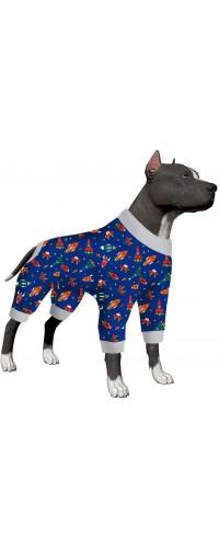 LovinPet Dog Rocket Pajamas/Space Rocket and Spaceship Navy Prints/Lightweight Big Dogs Pullover, Full Coverage Large Breed Dog Pjs/Large Dog Onesie Jumpsuit/Large Dog Jamammies