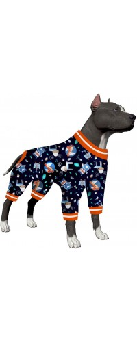 LovinPet Pet Clothes for Large Dogs/Nighthawk Red Fox Cuddle Into The Woods Steel Prints/Lightweight Pullover Pet Pajamas/Full Coverage Dog Pjs/Big Dog Onesie Jumpsuit