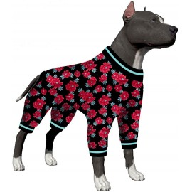 LovinPet Big Dog Pajamas/Doberman Dog Pajamas for Large Dog Jamammies/Stretch Knit Floral Navy/Ruby Prints/Lightweight Pullover Pet Pajamas/Full Coverage Dog Pjs