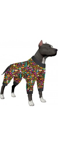 LovinPet Lightweight Pullover Dog Pajamas/Full Coverage Dog Pjs with Black Trim/Handiwork Decoupage Ink Prints/Post Surgery Shirt/UV Protection, Pet Anxiety Relief