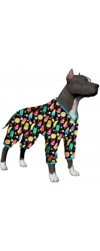 LovinPet Big Dog/Full Belly Coverage/for Big Dogs/Snap Button Pitbull Shirt for Men Big Dogs/Fruit Popsicle Frozen Black Prints/Lightweight Big Dogs Pullover, Full Coverage Large Breed Dog Pjs