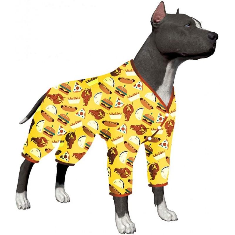 LovinPet Large Dog Pajamas/Post Surgery Shirt Dog/UV Protection/Food Truck Foods Yellow Hamburger Prints/Lightweight Snap Button Pet Pajamas/Full Coverage Dog Pjs Big Dog Onesie Jumpsuit