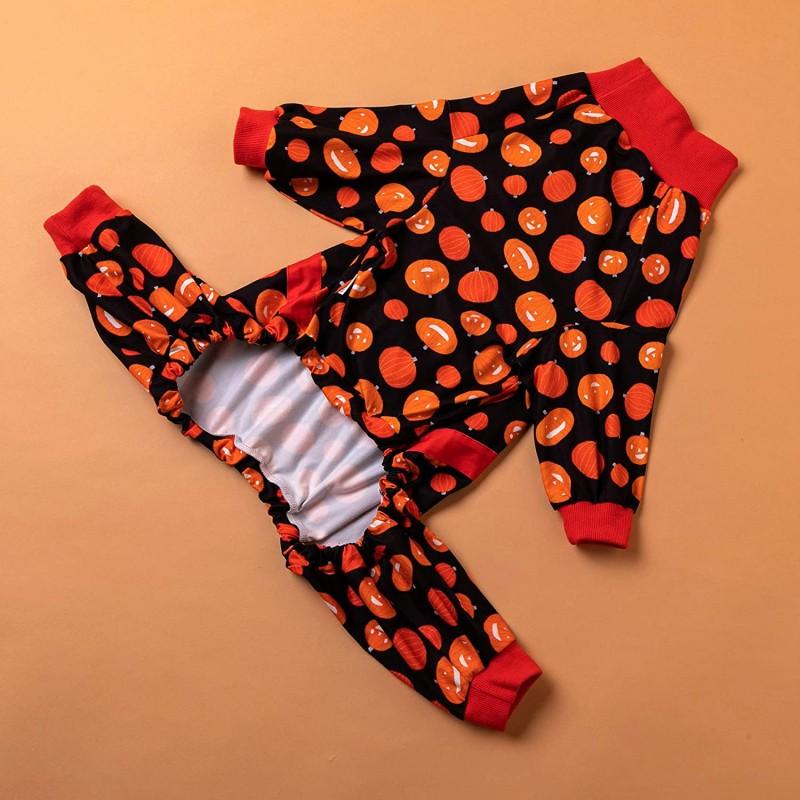 LovinPet Pitbull Pajamas/Post Surgery Dog Shirt/UV Protection/Smiling Large Pumpkin Prints/Lightweight Pullover Large Puppy Pajamas/Full Coverage Dog Pjs Big Dog Onesie Jumpsuit