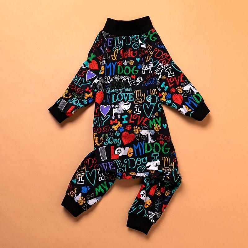 LovinPet Large Pajamas/Post Surgery Shirt/UV Protection/Love My Dog Words Black Prints/Post Surgery Shirt/UV Protection, Pet Anxiety Relief, Wound Care for Large Dog Onesies