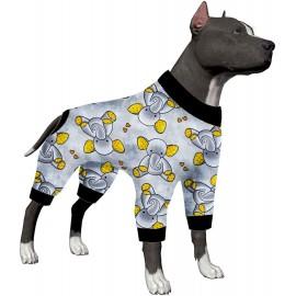 LovinPet Large Dog Shirt/Sleepytime Elephants Prints/Post Surgery Dog Shirt/Wound Care for Large Dog Onesies/Lightweight Pullover, Full Coverage Large Breed Dog Pjs