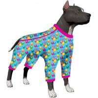 LovinPet Large Dog Onesie Pajamas Birthday Clothes/Happy Birthday Birthday Jubilee Prints/Lightweight Big Dogs Pullover, Full Coverage Large Breed Dog Pjs/Large Dog Jamammies