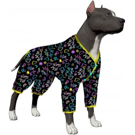 LovinPet Pet Pajamas for Dogs Medium Large/Stretch Knit Unicorn Toss Carbon Prints/Lightweight Snap Button Pet Pajamas/Full Coverage Dog Pjs Big Dog Onesie Jumpsuit/Large Dog Jamammies