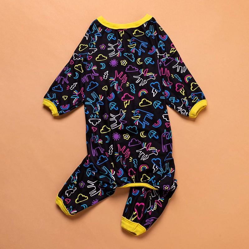 LovinPet Pet Pajamas for Dogs Medium Large/Stretch Knit Unicorn Toss Carbon Prints/Lightweight Snap Button Pet Pajamas/Full Coverage Dog Pjs Big Dog Onesie Jumpsuit/Large Dog Jamammies