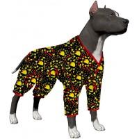 LovinPet Dog Pajamas/Big Dog Onesie Post Surgery Wear/Lightweight Pitbull Dog Snap Button Pajamas/Full Coverage Dog Pjs/Taco Rico Black Prints/Large Puppy Pajamas
