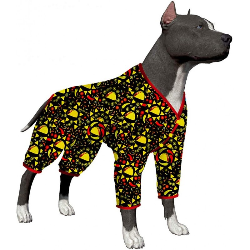 LovinPet Dog Pajamas/Big Dog Onesie Post Surgery Wear/Lightweight Pitbull Dog Snap Button Pajamas/Full Coverage Dog Pjs/Taco Rico Black Prints/Large Puppy Pajamas