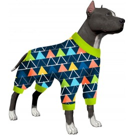LovinPet Large Dog Pjs Post Surgery Wear/Triangles Blizzard Blue Prints/Post Surgery Shirt/UV Protection, Pet Anxiety Relief, Wound Care for Large Dog Onesies