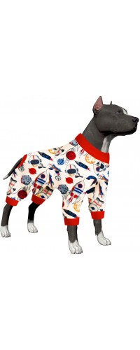 LovinPet Dog Clothing/Stronaut Planet Spaceship Print for Big Dog Jamammies/Boxer Dog Pajamas, Lightweight Pullover Dog Pajamas, Full Coverage Dog pjs