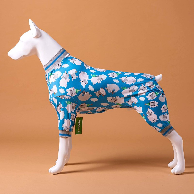 LovinPet Large Dog Clothes/Cozy Dog Pajamas, Slim Fit, Lightweight Pullover Pajamas/Full Coverage Dog Pjs/Happy Hippo Tossed Hippos Blue Prints/Large Breed Dog Pjs