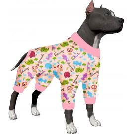 LovinPet Dog Clothes for Pitbull Shirt Pajamas Large Dogs, Slim Fit/Lightweight Pullover Dog Pajamas/Full Coverage/Kid's Choice Animals Allover Pink Prints/Pet Pajamas